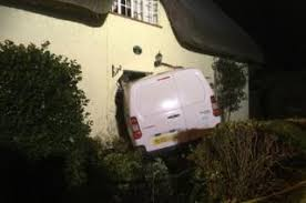 Shock of van driving into front door